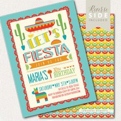 Fiesta Birthday Invitation, Taco Party, Mexican Taco Fiesta Invite Printable, Cinco de Mayo Party  ★ FREE SHIPPING ON PRINTED ORDERS ★  :::::::::::::::::::::::::::::::::::::::::::::::::::::::::::::::::::::::: Y O U • W I L L • R E C E I V E :::::::::::::::::::::::::::::::::::::::::::::::::::::::::::::::::::::::: • Digital or Printed 5x7 invitations - Choose within the options menu • Back side included (as shown in image) • Wording customization with your event details • Envelopes included…