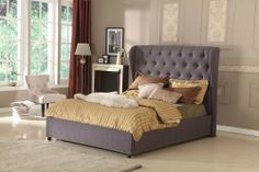 KING Bed Frame NEW French Provincial Bedroom Furniture Chesterfield Grey Linen