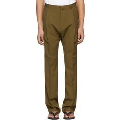 Lanvin Brown One Pleat Trousers (€600) ❤ liked on Polyvore featuring men's fashion, men's clothing, men's pants, men's dress pants, brown, mens wool pleated dress pants, mens zip off pants, mens pleated pants, men's relaxed fit pants and mens zipper pants