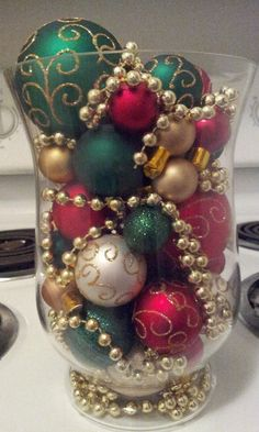 Christmas decoration with ornaments by HurricaneHeathers on Etsy, $25.00: