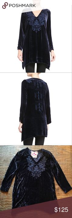 """Johnny Was JWLA Velvet Embroidered Tunic Pullover Johnny Was JWLA Holland Velvet Pullover Tunic  Velvet is so in vogue this season & the plush saturated navy blue color makes it that much better. Tone on tone intricate folk art inspired embroidery work adds richness to the front & back of this gorgeous top.  Made in luxurious silk velvet & cut for a relaxed, figure-flattering fit.  Bust: 18"""" Length: top of shoulder in back to hem: 30"""" - Rayon/Silk - V-Neck/ Long Sleeves - Asymmetrical…"""