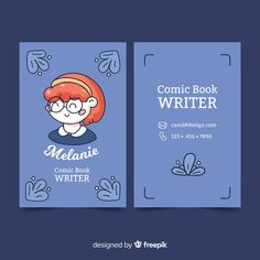 Kawaii style business card template Free Vector Art Business Cards, Free Business Card Templates, Business Card Design, Book Design, Cover Design, Design Design, Stationery Design, Brochure Design, Name Card Design