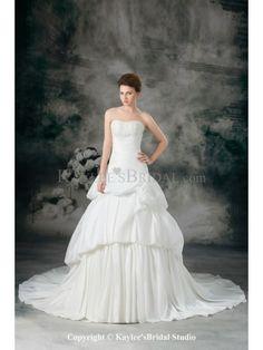 Taffeta Sweetheart Chapel Train Ball Gown Embroidered Wedding Dress