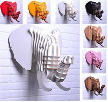 Gesneden houten gelukkige olifant hoofd opknoping muur decor, mode diy europa hout ambachten dier hoofd kunst home decor reële hs-20(China (Mainland))