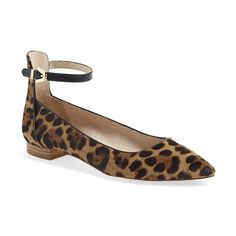 Louise et Cie 'Barry' Ankle Strap Flat ($83) ❤ liked on Polyvore featuring shoes, flats, brushed leopard calfhair, ankle wrap ballet flats, leopard flats, ballet shoes, pointed-toe ankle-strap flats and leopard print flats