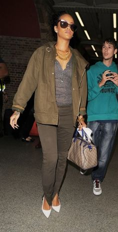 Rihanna - Brown Jacket, Grey Tank, Brown Skinny Jeans & White Pointy Toe Heels