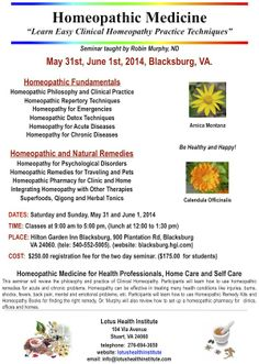 """Homeopathic Medicine """"Learn Easy Clinical Homeopathy Practice Techniques""""  Seminar taught by Dr Robin Murphy, ND  Saturday May 31st and Sunday June 1st, 2014 - Blacksburg, VA"""