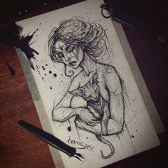 «#hamster #art #drawing #sketch #girl #woman #graphicarts #beautiful #кот #девушка  #карандаш #набросок #эскиз #обнаженная #омск  #artist #tattooartist…»