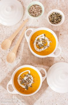 Spiced carrot, pumpkin and sweet potato soup - packed with fall flavours and ideal for Thanksgiving