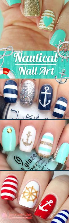 Nautical Nails, more than 40 examples - Nautical Nails Anchor Nail Designs, Nautical Nail Designs, Anchor Nail Art, Nautical Nails, Nail Art Designs, Blue Nails, My Nails, Aztec Nails, Chevron Nails