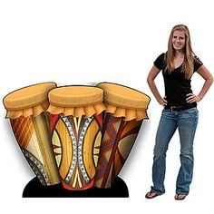 Our African Conga Drums Standee has a fun tribal like design with bright colors.