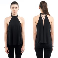ROUND NECK HALTER TUNIC TOP JUST IN!! Price firm unless bundled. S, M, Or L. Black Halter round-neck detail Tunic style Sleeveless Split Open Draped Back 100% Polyester Style Link Miami Tops Tees - Short Sleeve