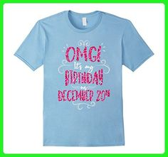 Mens OMG! It's My Birthday On December 20th Girls Party T Shirt Small Baby Blue - Birthday shirts (*Amazon Partner-Link)