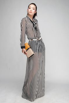plus size XXL super quality chiffon long seelve bow tie wide leg pants black and white stripe jumpsuit trousers for women-inJumpsuits & Rompers from Apparel & Accessories on Aliexpress.com | Alibaba Group