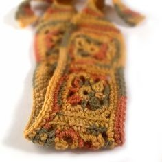 Crochet Headband, Boho Knit Hairband, Mustard Yellow, Olive Green, Rust Orange, Wool Bamboo Yarn Blend