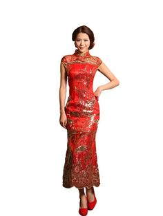 Artwedding Golden Sequin Detailed Ankle Length Mermaid Chinese Dress