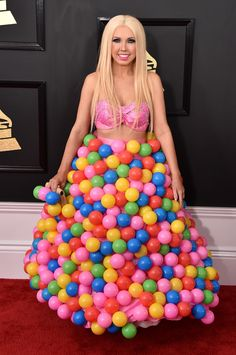 WORST: Girl Crush looked she jumped into the ball pit at a nearby McDonald's before hitting the red carpet! She definitely made heads turn. (Photo by John Shearer/WireImage)  via @AOL_Lifestyle Read more: https://www.aol.com/article/entertainment/2017/02/12/grammy-awards-2017-best-and-worst-dressed/21712482/?a_dgi=aolshare_pinterest#fullscreen