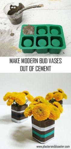 Make modern cement bud vases - an easy beginner cement project! - Plaster & Disaster