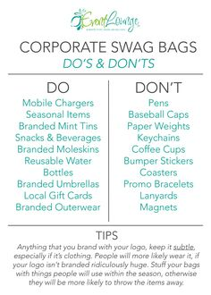 This Graphic is most helpful when planning Corporate Swag Bags. - This Graphic is most helpful when planning Corporate Swag Bags. Business Launch, Business Marketing, Business Tips, Event Marketing, Business Icon, Etsy Business, Corporate Business, Mobile Marketing, Marketing Ideas