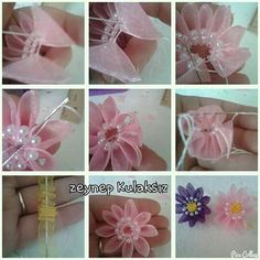 A beautiful idea I have yet to try, would definitely like to incorporate this in one of my creations. lisakaywritercreator,com - Salvabrani Organza Flowers, Cloth Flowers, Kanzashi Flowers, Diy Flowers, Fabric Flowers, Ribbon Art, Diy Ribbon, Fabric Ribbon, Ribbon Crafts