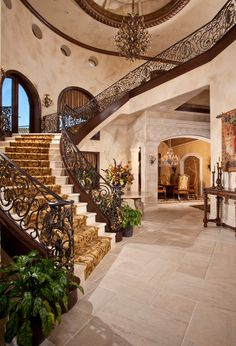 Mediterranean Exterior of Home with Pathway, Fountain, exterior ...