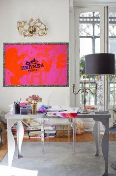 Framed Hermes scarf // #design #workspace