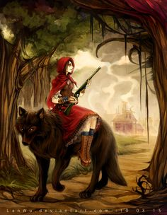 Badass red riding hood with gun and wolf Red Riding Hood Wolf, Little Red Ridding Hood, Big Bad Wolf, Fairytale Art, Illustration, Red Hood, Fantasy Art, Fairy Tales, Cool Art