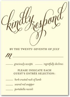 rsvp card wording. cute food choice idea. even if we don\'t have ...