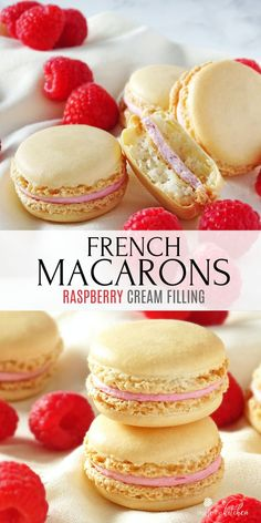 These Macarons with Raspberry Filling are out of this world! Sweet cookies filled with delicious raspberry cream cheese filling. #macarons #dessert #frenchmacarons #macaroons #olgainthekitchen #raspberry #frosting #cookies #holiday Homemade Desserts, Best Dessert Recipes, No Bake Desserts, Easy Desserts, Delicious Desserts, Raspberry Frosting, Raspberry Filling, Macaroon Filling, Baking Recipes