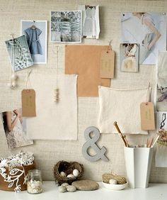 vintage moodboard- love the neutrals & blues