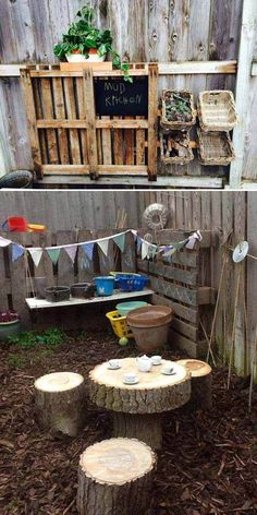 cool Top 20 of Mud Kitchen Ideas for Kids Mud kitchen (also known as an outdoor kitchen or mud pie kitchen) is one of the best resources in DIY projects for kids to play outside as kids playhouse. Outdoor Play Spaces, Kids Outdoor Play, Kids Play Area, Outdoor Learning, Childrens Play Area Garden, Natural Play Spaces, Outdoor Kitchens, Outdoor Games, Kids Fun