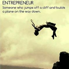 Entrepreneur: Someone who jumps off a cliff and builds a plane on the way down.