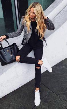 Cool Street Style Grey Jacket Top Plus Bag Plus Stripped Jeans Plus Sneakers