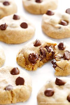 4-Ingredient Peanut Butter Chocolate Chip Cookies   gimmesomeoven.com
