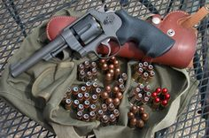 When the US entered WWI, the US army asked Smith and Wesson to build a revolver around the ACP round. What they got was the Smith & Wesson Survival Weapons, Weapons Guns, Military Weapons, Airsoft Guns, Guns And Ammo, Tactical Guns, Revolver Pistol, Revolvers, Shooting Guns
