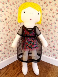 Plush handmade Couture Collection fabric girl doll by ohbAby1112, $80.00 #handmadedoll #doll #clothdoll #fabricdoll