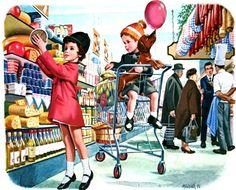 Martine fait ses courses - Marcel Marlier Marcel, Vintage Pictures, Vintage Images, Vintage Art, Nostalgia Art, Illustration Photo, Childhood Stories, Dachshund, Ad Art