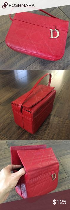 """Dior leather handbag Gently used, absolutely amazing condition. Real leather. H:4.75"""" W:6.25"""" D:3.25"""" strap is 13.5"""" long. Dior Bags"""