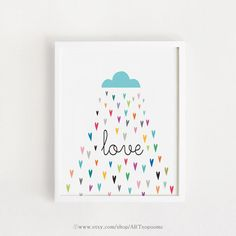 INSTANT DOWNLOAD Cloud Love Rain Print Poster bebe by ARTsopoomc