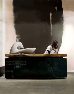 Reception desk and abstract wall graphic. Sophie-Elizabeth Thompson