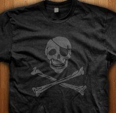 Pirate Skull Emo T-Shirt Crossbones Eye Patch Jack  Love Gift Children Teen Rock Music Goth Punk Indie Emotional Feelings Heart Bands Rocker