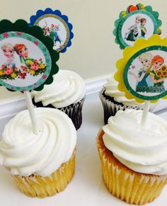 Frozen Fever cupcake toppers Frozen by karlaspartycreations