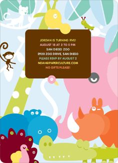 colorful animals for a kid's birthday invitation