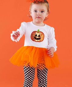 White Pumpkin Tutu Tunic & Polka Dot Leggings - Infant & Toddler | Something special every day