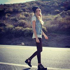 Street style, denim jacket, beanie. #stylesaint
