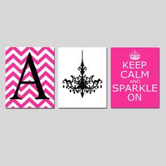 Keep Calm and Sparkle On Chevron Monogram Initial by Tessyla, $59.50