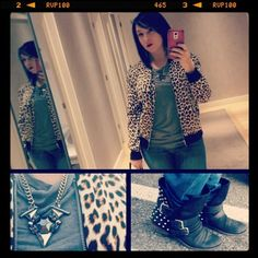 Can you ever go wrong with leopard print and red lipstick?! #ootd #outfitpic #WIW. #leopard #jacket from #express, #cccalifornia #teeshirt, #ashandwillow #necklace, #DolceVita #studded #boots. #redlips #studs #animalprint #ankleboots. #fashion #fashionista #instafashion #trends. #trustintricia #WardrobeConsultant #FashionStylist #PersonalStylist #selfie