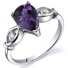 Simulated Alexandrite 3 Stone Ring Sterling Silver Size 7 * Continue to the product at the image link.(This is an Amazon affiliate link and I receive a commission for the sales)