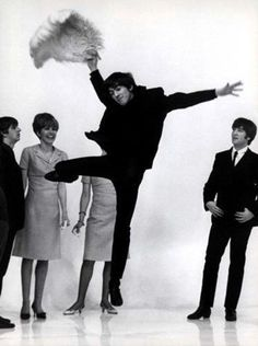 1964 - Ringo Starr, George Harrison and John Lennon in A Hard Day's Night fim (backstage photo).