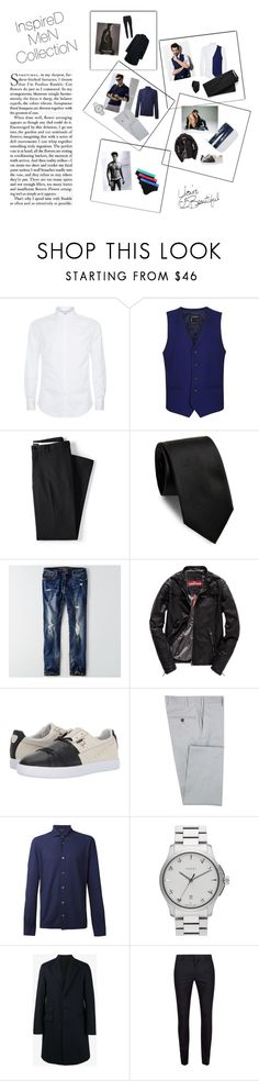 """inspired men collection"" by umut-basaran ❤ liked on Polyvore featuring Brunello Cucinelli, Topman, Lands' End, Yves Saint Laurent, American Eagle Outfitters, Superdry, Puma, Calvin Klein, Diverso and Zanone"
